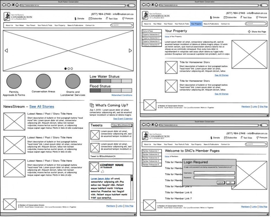 SNC Wireframes UX / UI